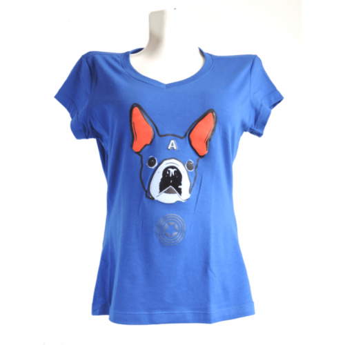 Camiseta Estampada Pet Gifts Mujer Manga Corta Captain Terrier Azul