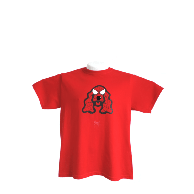 Camiseta Estampada Pet Gifts Hombre Cocker Spiderman Rojo