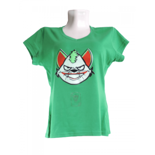 Camiseta Estampada Pet Gifts Mujer Manga Corta Joker Cat Verde