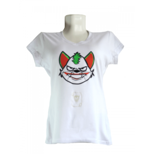 Camiseta Estampada Pet Gifts Mujer Manga Corta Joker Cat Blanco