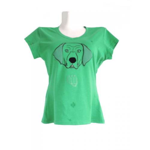 Camiseta Estampada Pet Gifts Mujer Manga Corta Hulk Retriever Verde