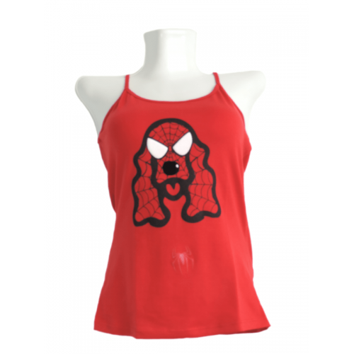 Camiseta Estampada Pet Gifts Mujer Manga Sisa Cocker Spiderman Rojo