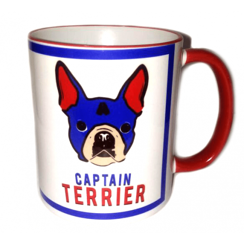 Pocillos superheroes mascotas Pet Gifts Captain Terrier Azul